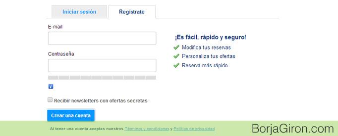 Cómo registrarse en booking