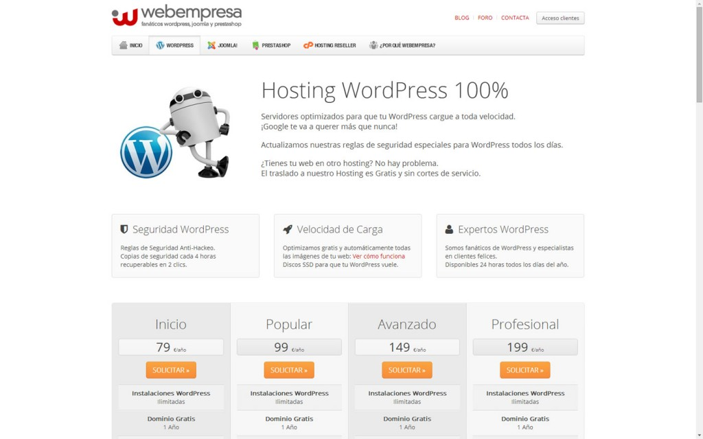 Hosting fácil WordPress Webempresa