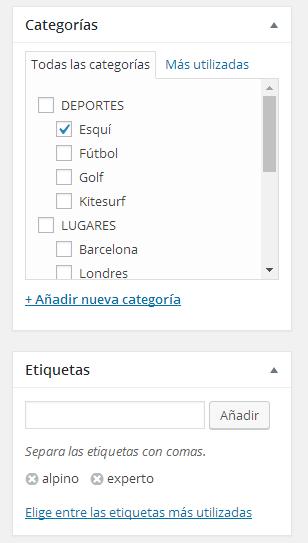 ejemplo categorias subcategorias etiquetas esqui