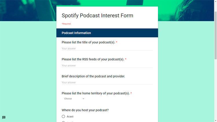 formulario alta registrar subir podcast spotify