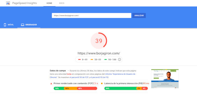 ejemplo pagespeed sin cache
